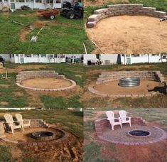 Sloped yard, fire pit on a slope, fire pit area, outdoor fire, fire Fire Pit Area, Diy Fire Pit, Fire Pit Backyard, Backyard Patio, Backyard Ideas, Firepit Ideas, Fire Pit On A Slope, Backyard Seating, Patio Ideas On A Hill