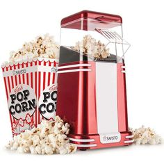 Savisto Retro Hot Air Popcorn Maker Popper Machine with 6 Cinema Pop Corn Boxes Air Popcorn Maker, Popcorn Boxes, Vintage Diner, Vintage Style, Retro Style, Homemade Popcorn, Corn Pops, Movie Gift, Boxes For Sale