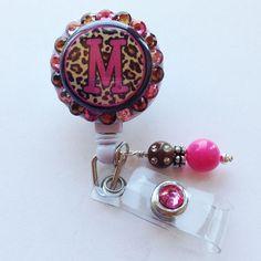 Pink Leopard Initial Bling Badge Holder