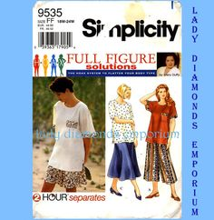 * Full Figure Solutions Vintage Simplicity Pattern womens size 18W, 20W, 22W, 24W bust 40, 42, 44, 46 copyright ~ 1996 condition ~ uncut, factory folded  This is another great Mary Duffy full figure pattern (the HOAX system to flatter your body type). Details are … * pull-on split skirt in mid calf or above the knee lengths (culottes) * pull-on four gore skirt mid calf length (not split) * short sleeve pullover top with side slits and optional patch pockets Please see back of pattern for…