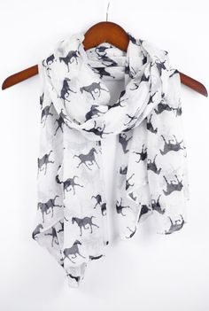 White Horse Scarf Equestrian Scarf Animal by knotanotherscarf