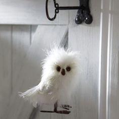 Fluffy Owl Decoration, Love this little fella!  #christmas