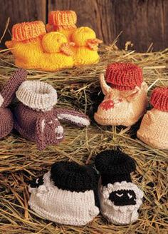 Baby Patterns from Knitting Daily: 9 Free Baby Knitting Patterns, including these cute animal baby booties--Farm babies! Knitting Daily, How To Start Knitting, Knitting For Kids, Free Knitting, Knitting Projects, Knitting Videos, Yarn Projects, Free Baby Patterns, Baby Knitting Patterns