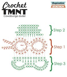 Today - a crochet pattern, just for you. Enjoy! I have Louise to credit for this idea. I developed this TMNT pattern from the Skull Scarf kits I put together for our halloween bazaar. Lou poked fun...