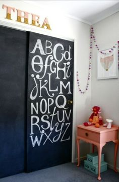 Transform a closet door into a fun and creative DIY chalkboard the kids will love to draw on.