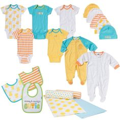 Newborn Baby Gerber Onesie, Layette & Accessory 19-pc. Set, Infant Unisex, Size: 0-3 Months, Orange