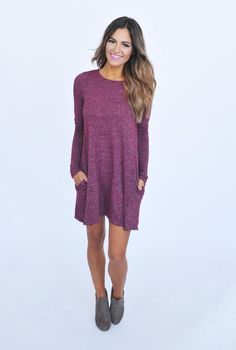 Maroon Knit Long Sleeve Dress - Dottie Couture Boutique