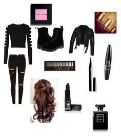 """Black"" by styleislife235 on Polyvore featuring beauty, Cushnie Et Ochs, Dr. Martens, Forever 21, Marc Jacobs, Manic Panic, Chanel, NYX and Bobbi Brown Cosmetics"
