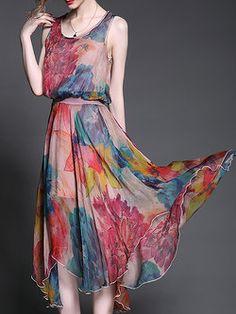 Multicolor Crew Neck Floral Sleeveless Midi Dress