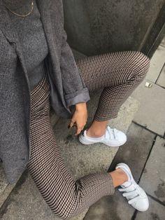 Plaid pants, gray blazer