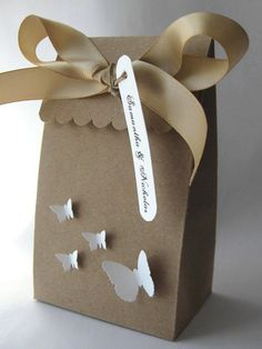 Wedding Favor Box Butterflies  Kraft & White by WhimsyPics on Etsy, $3.65