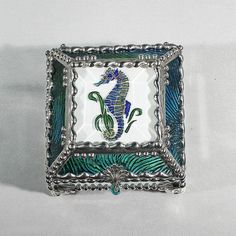 Seahorse Carved Glass Jewelry Box -  Faberge Style by GlassTreasureBox on Etsy
