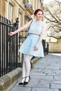 Blue Matching Set, White Tights, and T-strap Heels