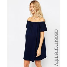 ASOS Maternity Off Shoulder Mini Dress ($26) ❤ liked on Polyvore featuring maternity and navy