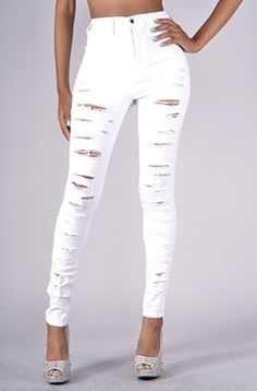 WHITE RIPPED HIGH-WAISTED SKINNY JEANS