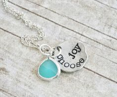 CHOOSE JOY - Hand Stamped Pewter Necklace with Aquamarine Pendant from jessicaNdesigns