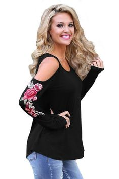 Black Embroidered Rose Long Sleeve Cold Shoulder Top