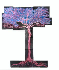 Oil painting consists of 15 separate canvases, The tree in pink di LabLiu su Etsy #etsy #dipinti #arte #albero #rosa #blu #arredamento #salotto #casa #home