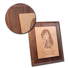 Photo Engraving on Maple Plaque on Walnut Base