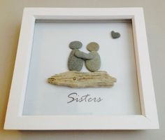CORNISH BEACH PEBBLE DRIFTWOOD ART PICTURE - CAN BE PERSONALISED