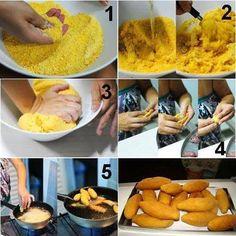 Ingredientes  1/2 kg de farinha de milho amarela 1 1/2 l de água 2 tabletes de caldo de carnever vídeo 4 colheres (sopa) de óleo 2 colheres (sopa) de farinha de
