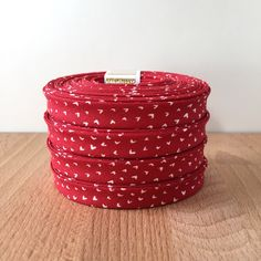 """Bias Tape- Dear Stella Wee Hearts in Crimson 1/2"""" double-fold binding- 3 yard roll by SoBiased on Etsy"""