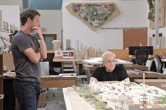Mark Zuckerberg and Frank Gehry inspect a scale model of the insides. Frank Gehry, Facebook News, For Facebook, Menlo Park, Top Interior Designers, Best Interior, Design Firms, Architecture Design, Architecture Quotes