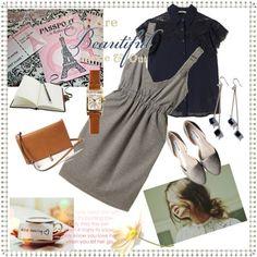 肩にレースをあしらったシャツブラウスにジャンパースカートできちんとだけどかわいい感じ Polyvore, Image, Fashion, Moda, Fashion Styles, Fashion Illustrations