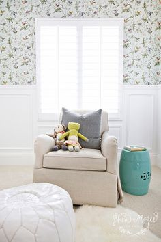House of Turquoise: This beautiful nursery belongs to baby Wren, whose talented mama is Orange County interior designer Shea McGee. She wanted the room (photographed here by Brooke Palmer) to feel feel clean, bright and pretty...starting with that gorgeous Cole & Sons wallpaper!