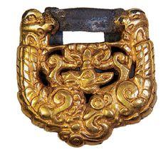 Golden sword belt (depicting a tiger) from Kurgan 4, burial 2 (A. Mirzakhanov).