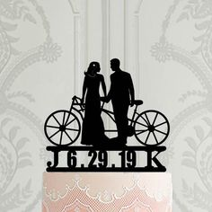 Personalised Wedding Cake Topper Silhouette Bride and Groom with Bike Tandem Bike Silhouette Wedding Decoration Cake Decor uk Personalized Wedding Cake Toppers, Custom Cake Toppers, Custom Cakes, Bike Silhouette, Wedding Silhouette, Our Wedding, Wedding Bride, Modern Cakes, Tandem