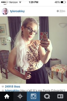 Tyler Oakley as Perrie Edwards. Oh my god its even weirder thinking that this guy got to meet them too!  Lol