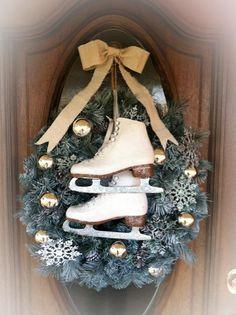 Christmas <b>Wreath</b> with Glittered <b>Ice</b> <b>Skates</b>♥