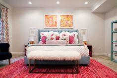 Grey pink gold bedroom