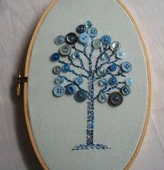 OOAK Embroidery Hoop Art, Free form Embroidered Tree, oval hoop