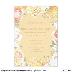 Elegant Peach Floral Wreath Invitations