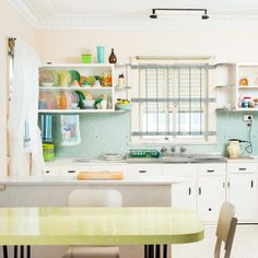 """Peter's Kitchen"", Fibro Coast series, Australia 2013 Kelley Hussey-Smith & Alan Hill (Ed. 2 of Bright Kitchens, Cool Kitchens, Home Decor Inspiration, Kitchen Inspiration, Kitchen Ideas, Green Kitchen, Beautiful Interiors, Colorful Decor, Kitchen Interior"
