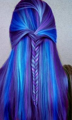 #Indigo #ColorIntensity  Wow.  Purple, light blue, and a fishtail braid.  If only I had straight hair...