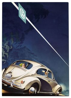 A 1957 Volkswagen in an illustration by the stylish German artist Bernd Reuters. Compared to the ornate American car designs of the postwar years, Volkwagen's were remarkably streamlined, stressing functionality over flourish. With the subtle branding looking on, the woman in this ad welcomes American consumers with a smile.  | Credit: Courtest of Jim Cherry