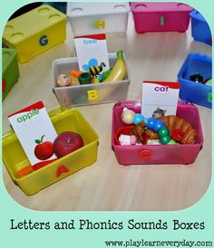 Play and Learn Everyday: Letters and Phonics Sounds Boxes a great way to help preschoolers to learn the initial sounds in words in a fun way. Phonics Activities, Language Activities, Learning Activities, Activities For Kids, Preschool Phonics, Preschool Letters, Preschool Themes, Alphabet Sounds, Phonics Sounds