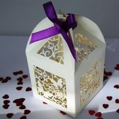Lantern Style Favour Box in Ivory Small Butterfly Design 1