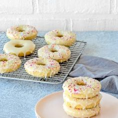 Easy Eggless Baked Donuts - Mommy's Home Cooking Eggless Donut Recipe, Baked Donut Recipes, Baked Doughnuts, Donuts, Donut Baking Pan, Donut Batter, Milk And Vinegar, Vanilla Glaze, Egg Free Recipes