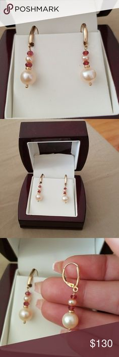14K Gold Pink Pearl Earrings Brand New pink pearl drop earrings with beautiful purple beads and leverback. Jewelry Earrings