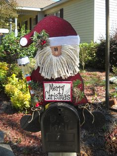 Santa Mailbox Topper with Solar Light by marciaoliver on Etsy, $47.95