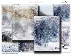 Magic of Snow digital Collage Sheet winter backgrounds for instant download