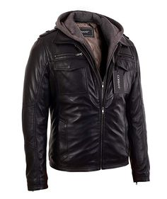 19ef591c2abd8 Mens Black Bomber Lambskin Real Leather Jacket with Hood (Small
