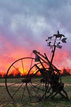 Sunset Farm #sunset #farm #beautiful #weathervane #calm #red #orange #blue #grass #realphotography #TTITPB