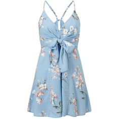 Miss Selfridge PETITE Tie Front Playsuit ($68) ❤ liked on Polyvore featuring jumpsuits, rompers, assorted, petite, miss selfridge, blue rompers, flower print romper, playsuit romper and petite rompers