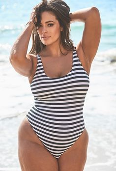 6889b7c5f7e0b Try out the Ashley Graham x Swimsuits For All Hotshot Striped Ribbed One  Piece Swimsuit and