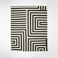 Kate Spade Saturday Small Scale Maze Dhurrie Rug, Iron, 9'x12'